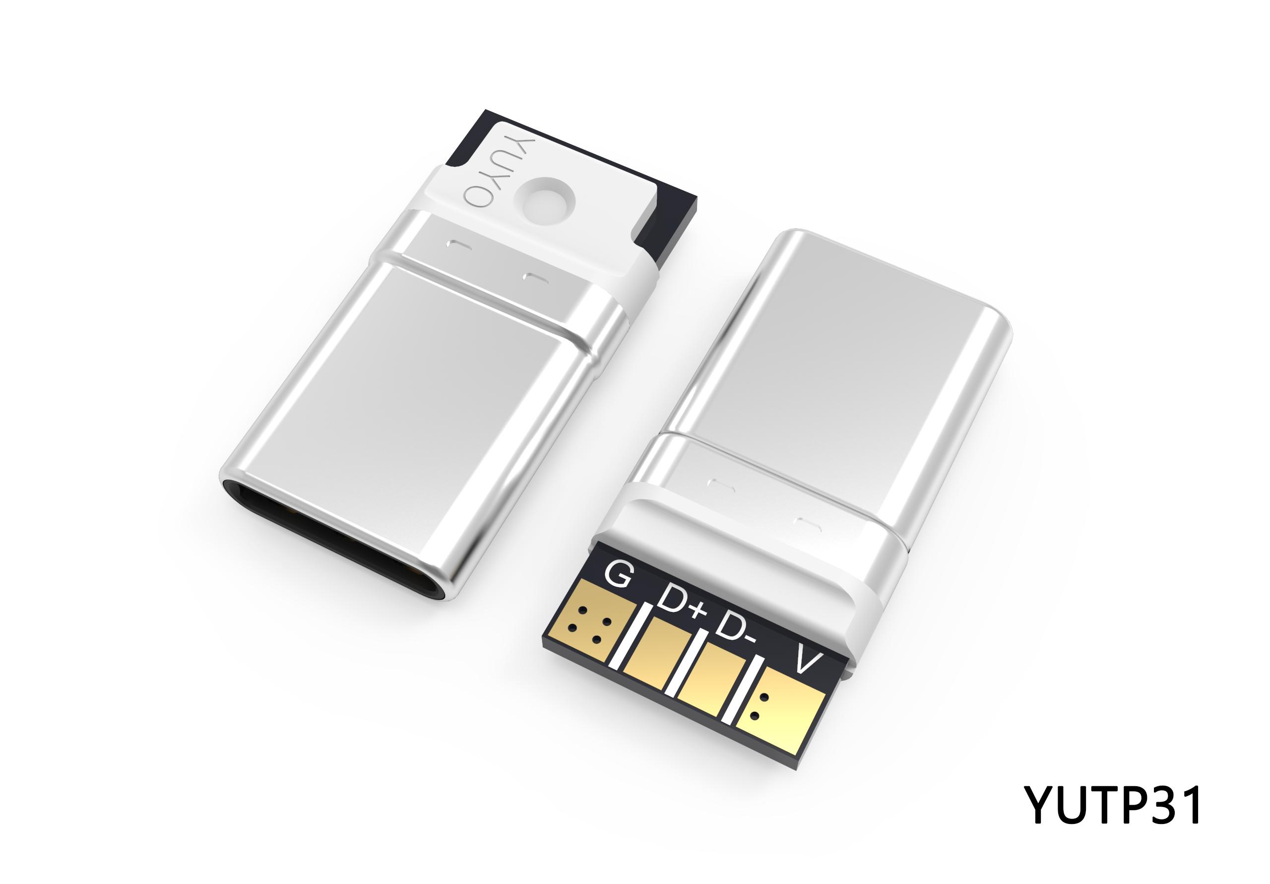 TYPE-C 4P一体式转接头插头 YUTP31