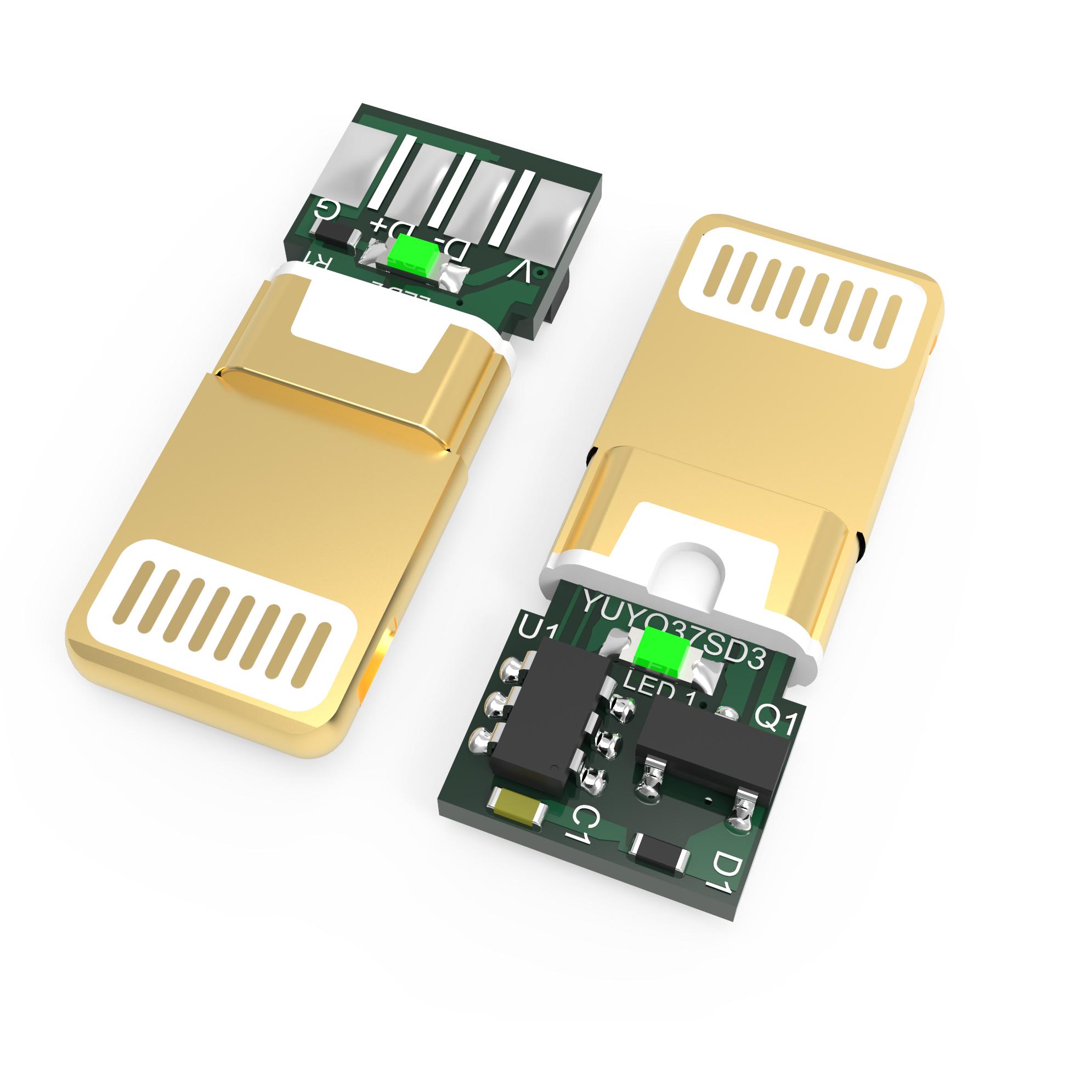 苹果8pin连接插头YUYO37SD3 加锡 黄金头