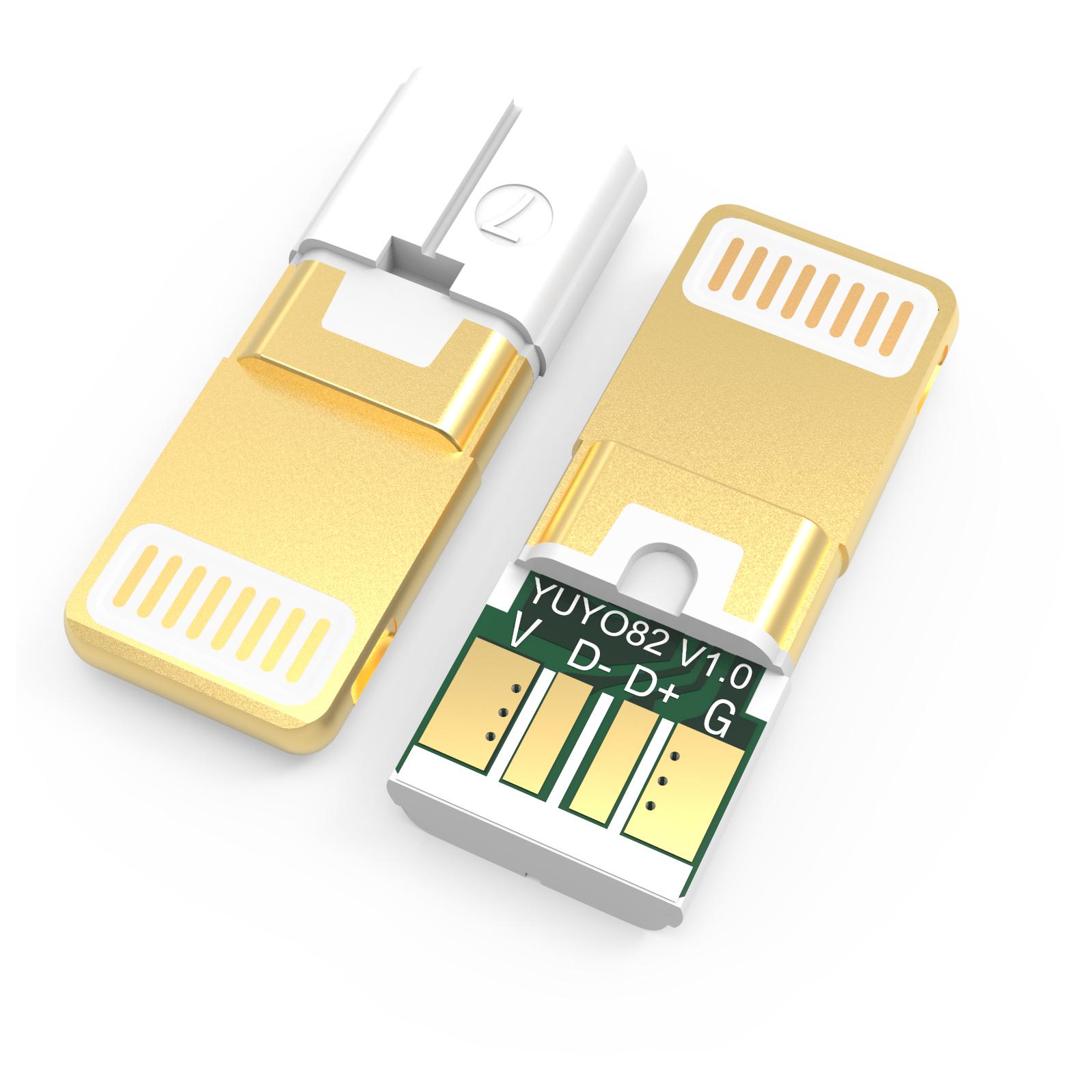 苹果8pin连接插头YUYO82 半包 黄金头